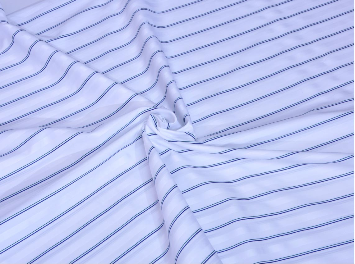 Green and Blue Shadow Stripe Giza cotton shirting fabric in 1 ply 50s