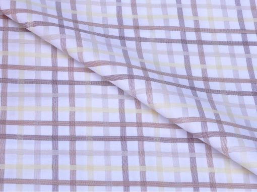Yellow Tartan Checks Giza cotton shirting fabric in 1 ply 60s