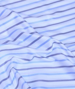 Blue Candy Stripes Giza cotton shirting fabric in 1 ply 50s