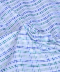 Blue and Green Checks Giza cotton shirting fabric in 1 ply 60s