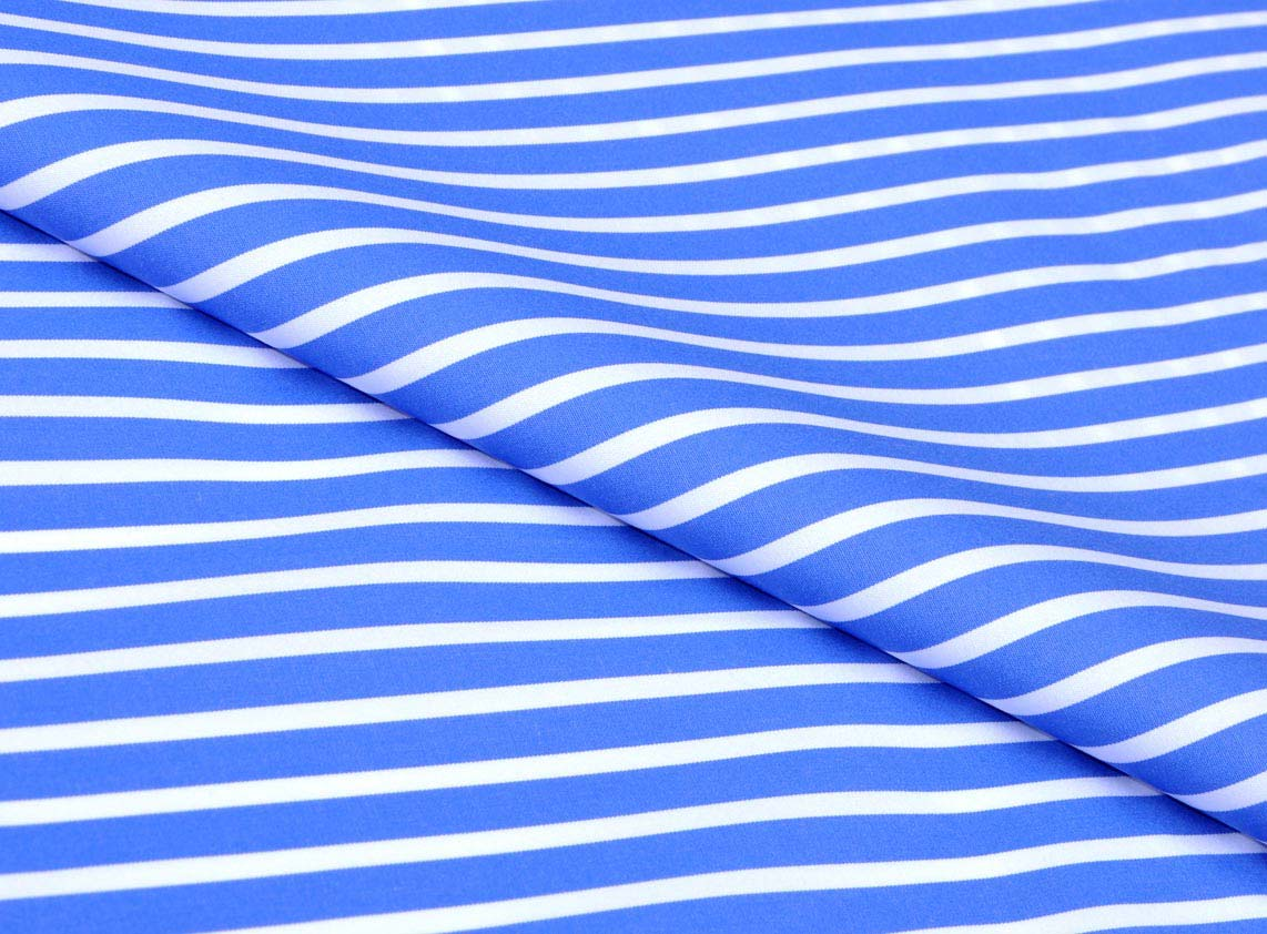 Blue Royal Bengal Stripes Giza cotton shirting fabric in 2 ply 100s