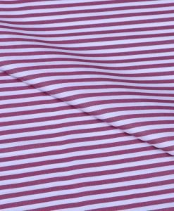 Maroon Candy Stripes Giza cotton shirting fabric in 1 ply 50s
