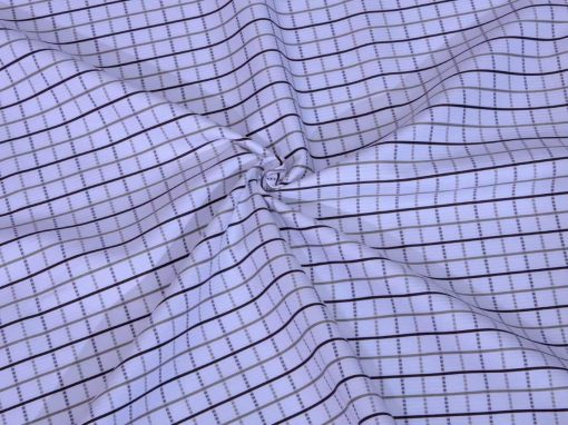 Brown Checks Giza cotton shirting fabric in 1 ply 70s