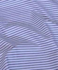 Green and Black Stripes Giza cotton shirting fabric in 1 ply 60s