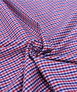 Red and Blue checks Giza cotton shirting fabric in 1 ply 50s