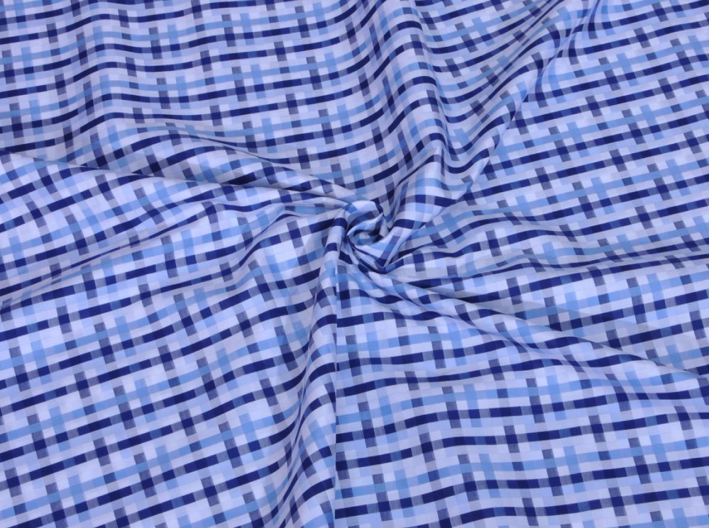 Blue Unique Checks Giza cotton shirting fabric in 1 ply 70s