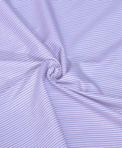 Red and Blue Pin Stripes Giza cotton shirting fabric in 2 ply 100s