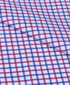 Red and Blue Tattersall Checks Giza cotton shirting fabric in 1 ply 60s