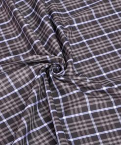 Brown Tartan Checks Giza cotton shirting fabric in 1 ply 60s