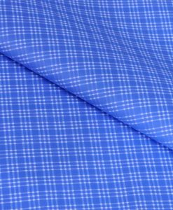 Fine Blue Checks Giza cotton shirting fabric in 2 ply 140s
