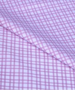 Pink Double Checks Giza cotton shirting fabric in 2 ply 80s