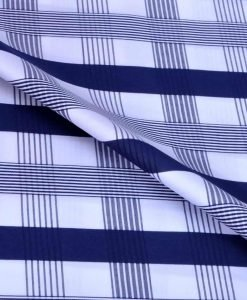 Navy Blue Checks Giza cotton shirting fabric in 2 ply 140s