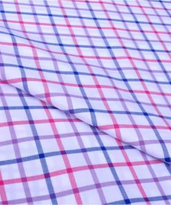 Blue and Pink Checks Giza cotton shirting fabric in 2 ply 80s