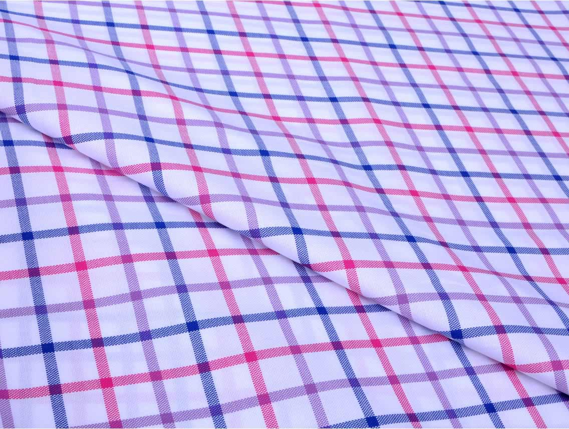 e78410d0 Blue and Pink Checks Giza cotton shirting fabric in 2 ply 80s