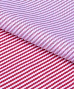 Red Dress Stripes Giza cotton shirting fabric in 1 ply 70s