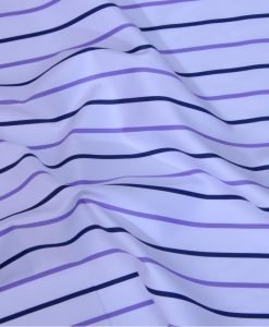 Black and Purple Stripes Giza cotton shirting fabric in 1 ply 70s
