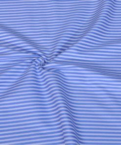 Blue Candy Stripes Giza cotton shirting fabric in 2 ply 100s