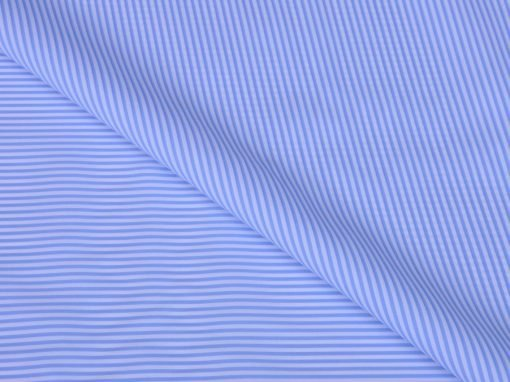Blue Dress Stripes Giza cotton shirting fabric in 1 ply 70s
