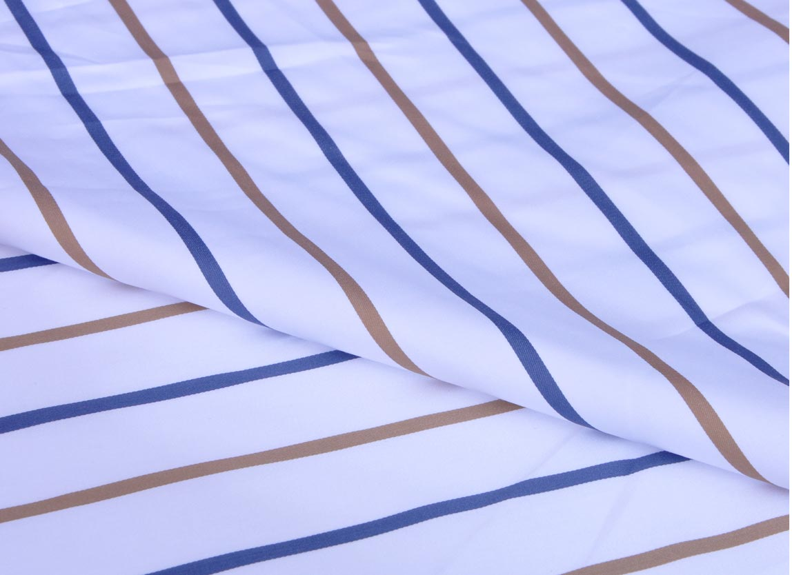 Brown and Blue Stripes Giza cotton shirting fabric in 1 ply 70s