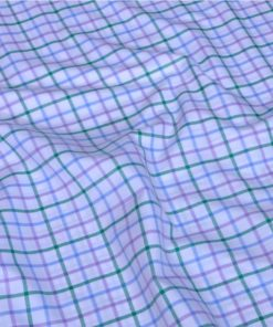 Green and Pink Checks Giza cotton shirting fabric in 2 ply 80s
