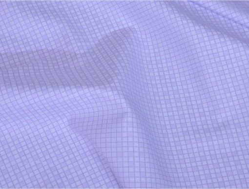 Lilac Unique Checks Giza cotton shirting fabric in 1 ply 60s