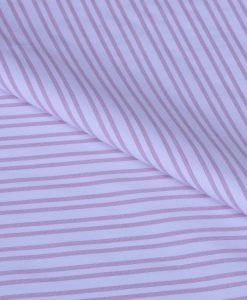Pink Double Stripes Giza cotton shirting fabric in 2 ply 80s