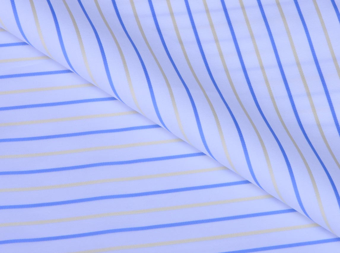 Yellow Blue Stripes Giza cotton shirting fabric in 1 ply 70s