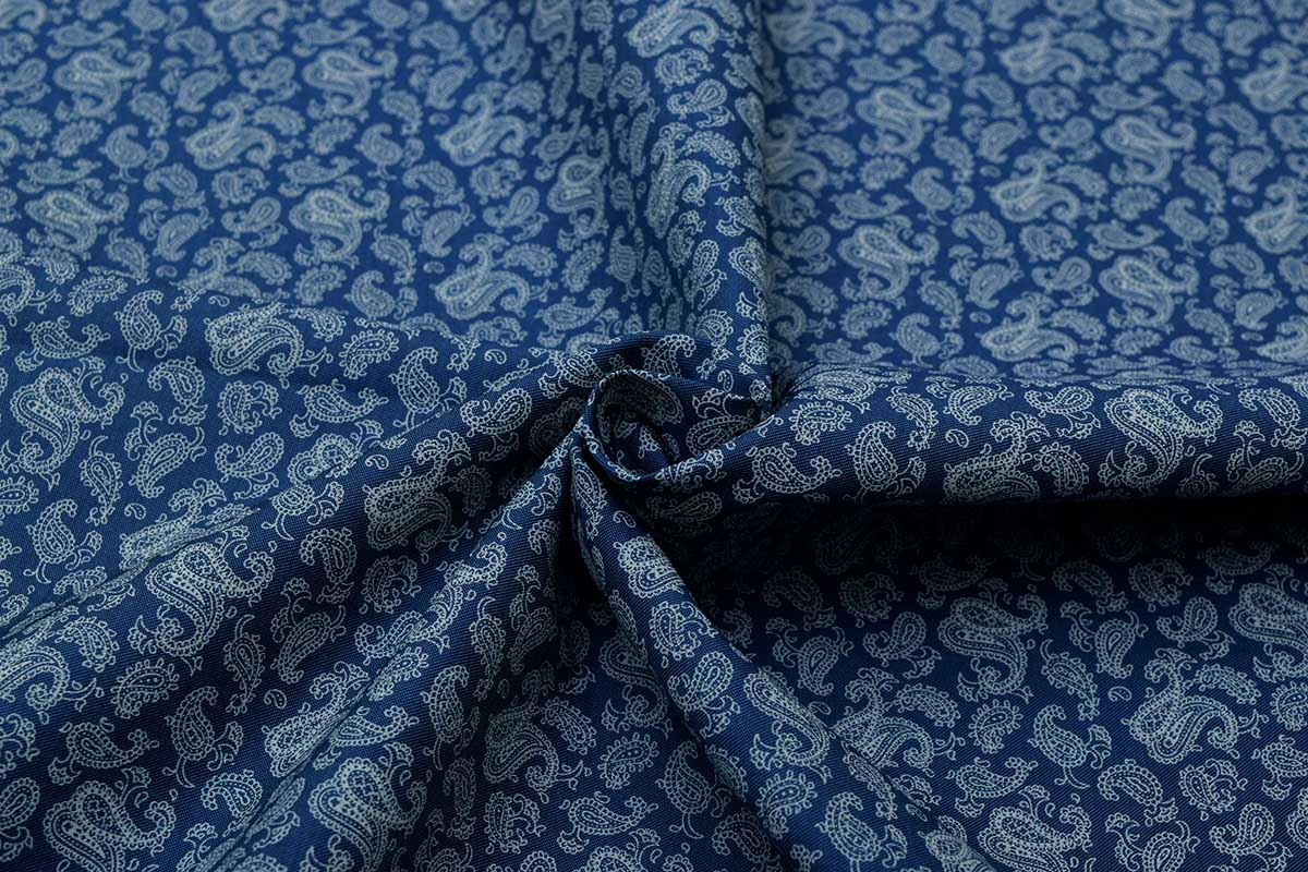Blue Paisley Print Custom Dress Shirt Fabric - Perfect Attire