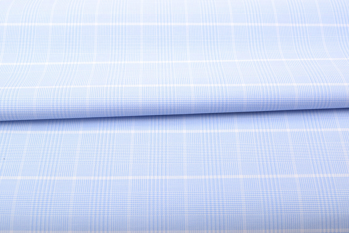 Sky Blue Glen Plaid Wrinkle Free Shirt 806123-(1)