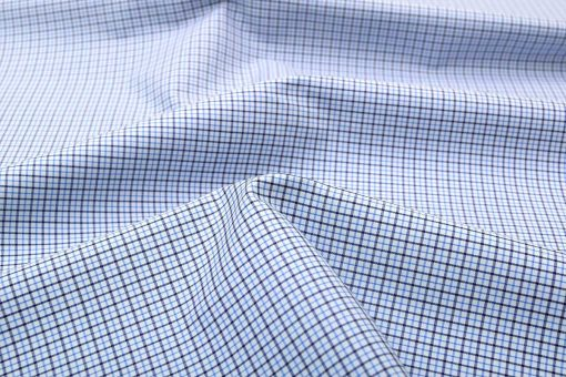 Blue Brown Wrinkle Free Graph Checks Shirt 806139 (1)