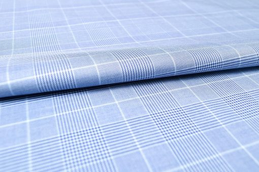Deep Blue Glen Plaid Checks Egyptian Cotton Fabric for Bespoke, Custom & Made to Measure Shirts