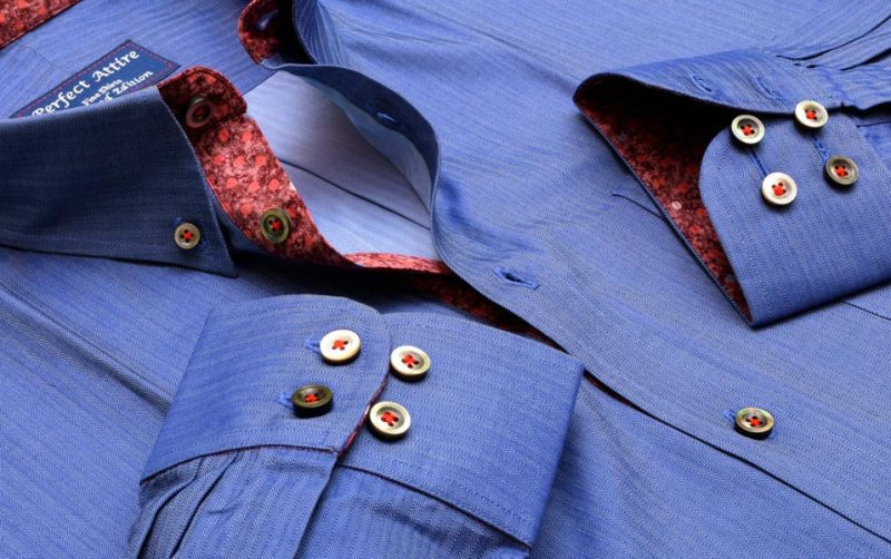 Blue Herringbone Dress Shirt - Perfect Attire