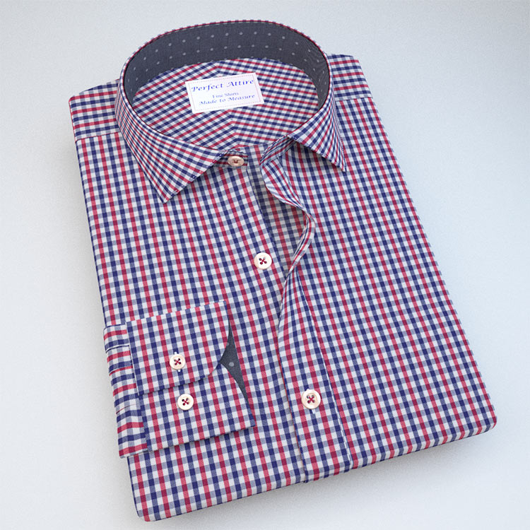 Red and blue gingham dress shirt perfect attire for Pink checkered dress shirt