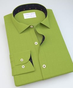 Green Satin Casual Shirt with Accent 113089