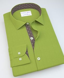 Green Satin Casual Shirt with Accent 113091
