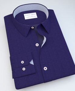 Purple Satin Dress Shirt with Accent 114121403