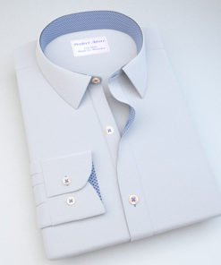 White Dobby Dress Shirt with Blue Printed Accent 120170121404