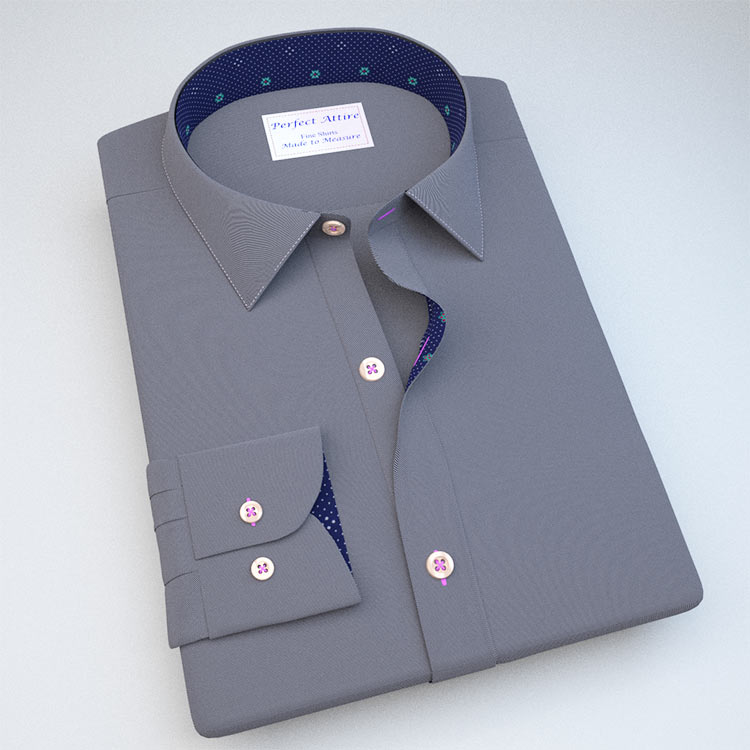 Black Bold Twill Dress Shirt with Accent 120183088