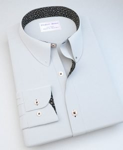 White Button Down Dress Shirt with Accent 120184087