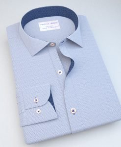 Blue Dash-Stripe Dress Shirt with Accent 120250121365