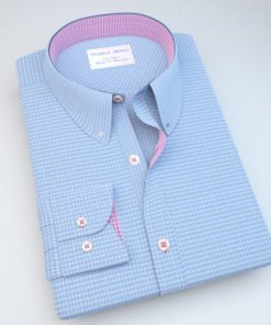Blue Houdstooth Dress Shirt with Accent 120251121128