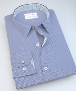 Blue Dobby Dress Shirt with Accent 120256092