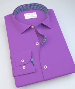 Purple Satin Dress Shirt with Accent 120283121131