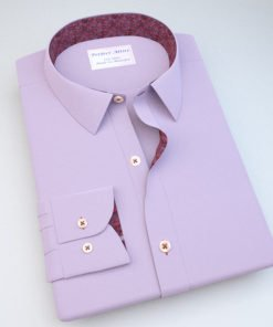 Lavender Wrinkle Free Dress Shirt with Floral Accent 120343086
