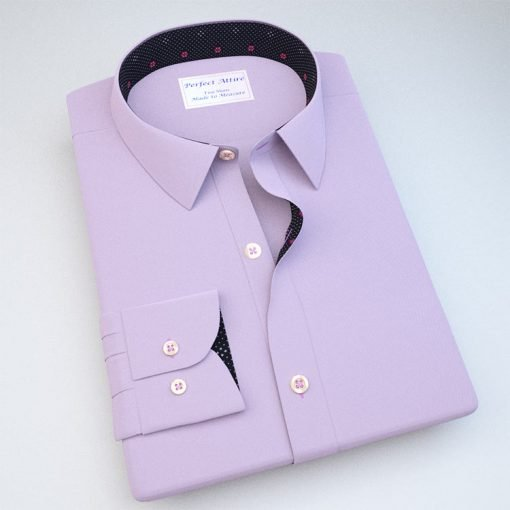 Lavender Wrinkle Free Dress Shirt with Black Accent 120343089
