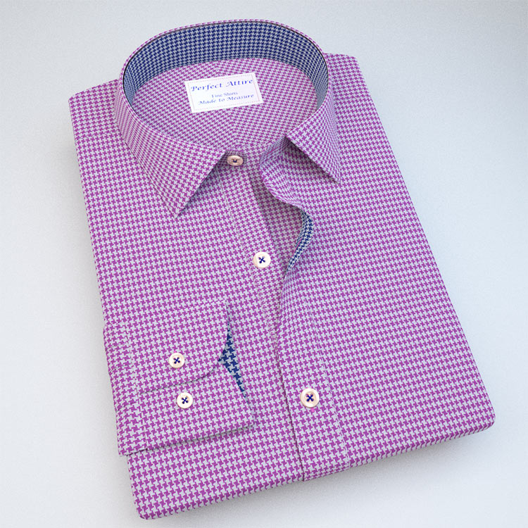 Purple Houndstooth Dress Shirt with Accent 121129121131