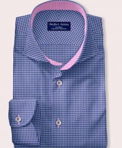 Blue Houndstooth dress shirt with accent from Perfect Attire - Milled by Andreazza & Castelli