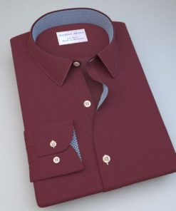 Red Chambray Dress Shirt with Printed Accent 121133121404