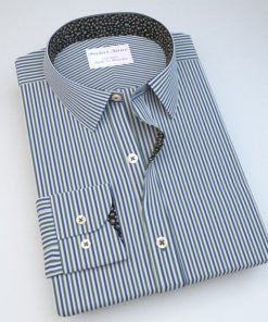 Blue & Green Striped Shirt with Accent 121155087