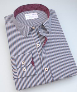 Blue & Green Striped Shirt with Accent 121156086